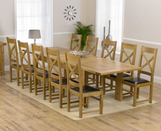Mark Harris Rustique Solid Oak 220cm Extending Dining Table with 10 Canterbury Brown Chair