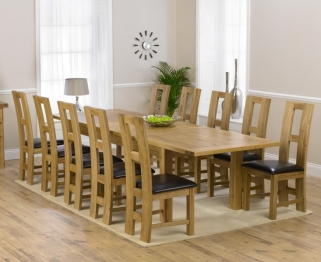 Mark Harris Rustique Solid Oak 220cm Extending Dining Table with 10 John Louis Brown Chair
