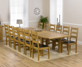 Mark Harris Rustique Solid Oak 220cm Extending Dining Table with 12 Valencia Brown Chair