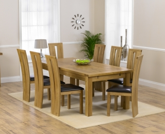 Mark Harris Rustique Solid Oak 220cm Extending Dining Table with 8 Arizona Brown Chair
