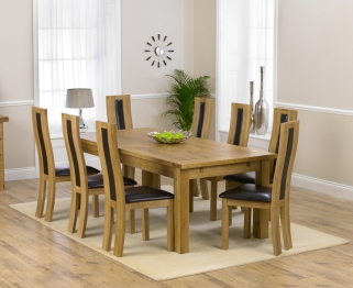 Mark Harris Rustique Solid Oak 220cm Extending Dining Table with 8 Havana Brown Chair