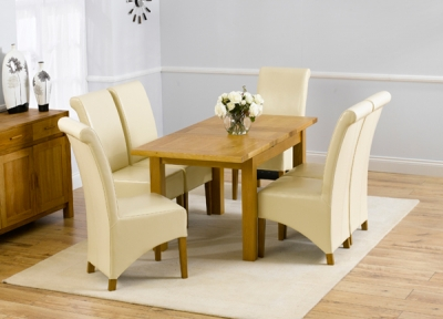 Mark Harris Rustique Solid Oak Dining Set - 120cm Extending with 4 Barcelona Cream Chairs