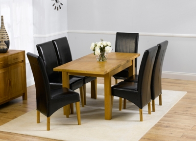 Mark Harris Rustique Solid Oak Dining Set - 120cm Extending with 4 Roma Brown Chairs