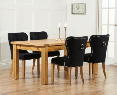 Mark Harris Rustique Oak Large Extending Dining Table and 4 Kalim Black Chairs