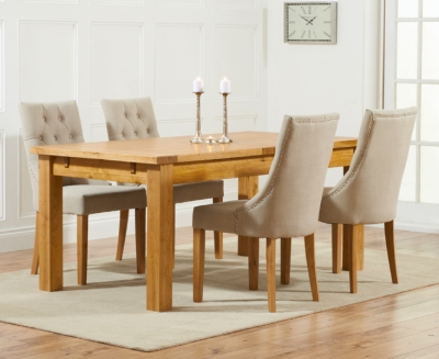 Mark Harris Rustique Oak Large Extending Dining Table and 4 Pailin Beige Chairs