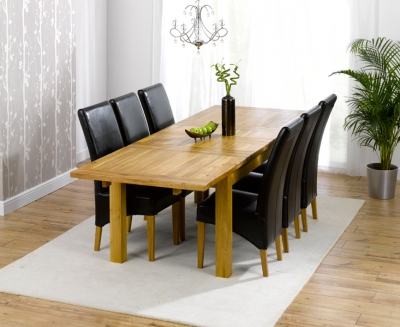 Mark Harris Rustique Solid Oak Dining Set - 180cm Extending with 4 Roma Brown Chairs