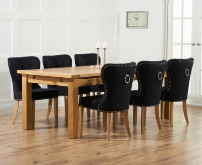 Mark Harris Rustique Oak Extra Large Extending Dining Table and 6 Kalim Black Chairs