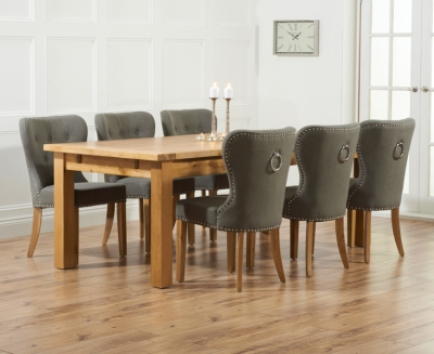 Mark Harris Rustique Oak Extra Large Extending Dining Table and 6 Kalim Grey Chairs