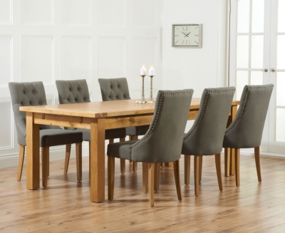 Mark Harris Rustique Oak Extra Large Extending Dining Table and 6 Pailin Grey Chairs
