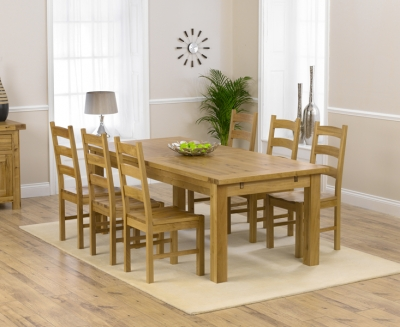 Mark Harris Rustique Oak Extra Large Extending Dining Table and 6 Valencia Timber Seat Chairs