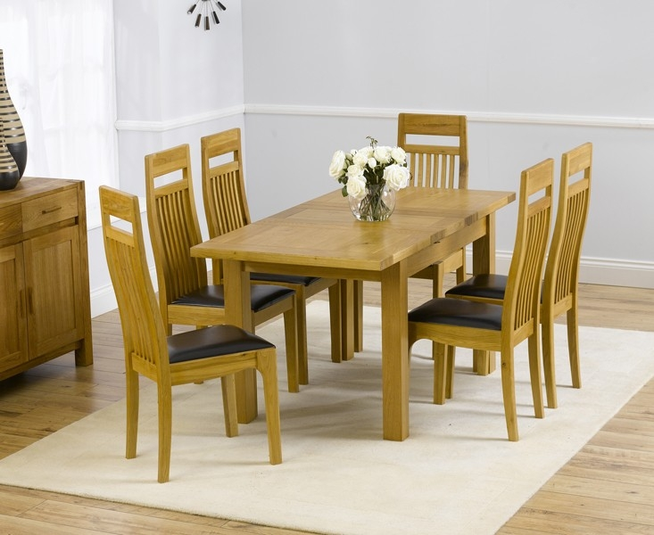 Mark Harris Rustique Solid Oak 120cm Extending Dining Set with 6 Monte Carlo Brown Dining Chairs
