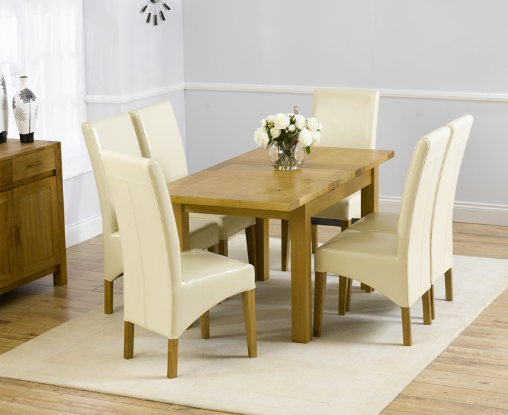 Mark Harris Rustique Solid Oak 120cm Extending Dining Table with 6 Roma Cream Chair