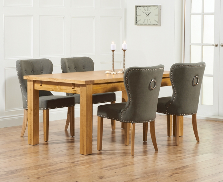 Mark Harris Rustique Solid Oak 150cm Extending Dining Set with 4 Kalim Grey Dining Chairs