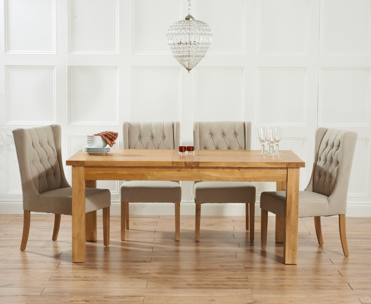 Mark Harris Rustique Solid Oak 150cm Extending Dining Set with 4 Stefini Beige Dining Chairs