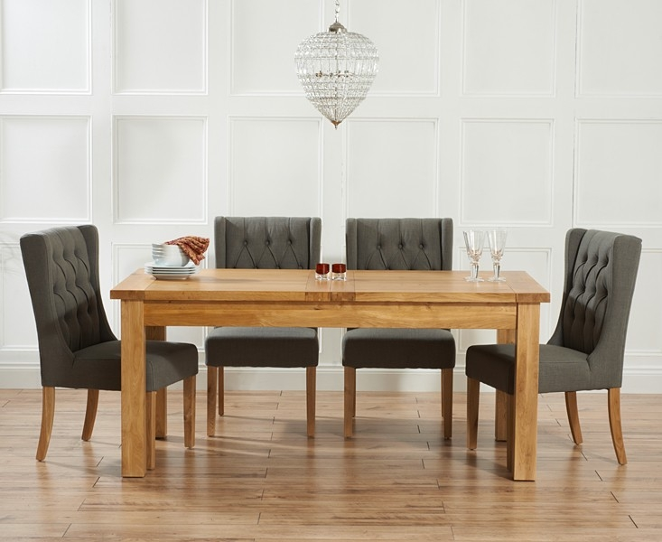 Mark Harris Rustique Solid Oak 150cm Extending Dining Set with 4 Stefini Grey Dining Chairs