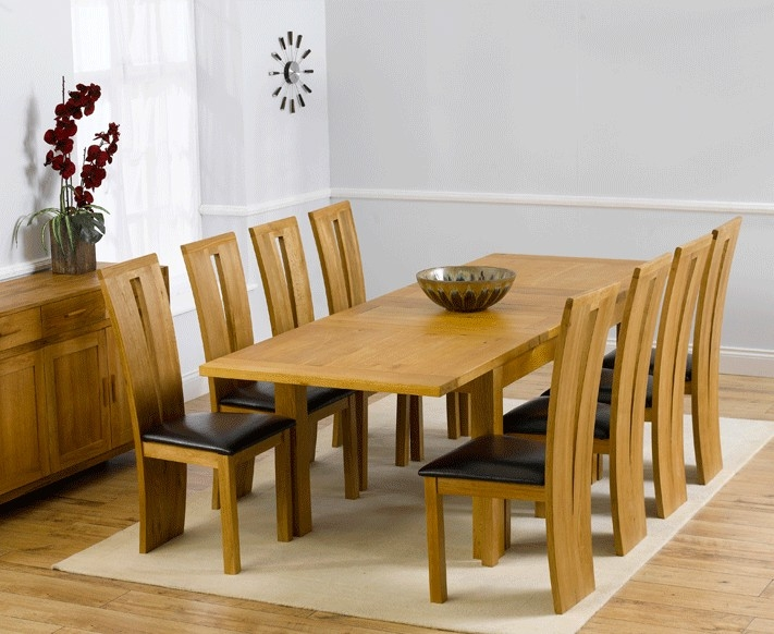 Mark Harris Rustique Solid Oak 150cm Extending Dining Set with 8 Arizona Brown Dining Chairs
