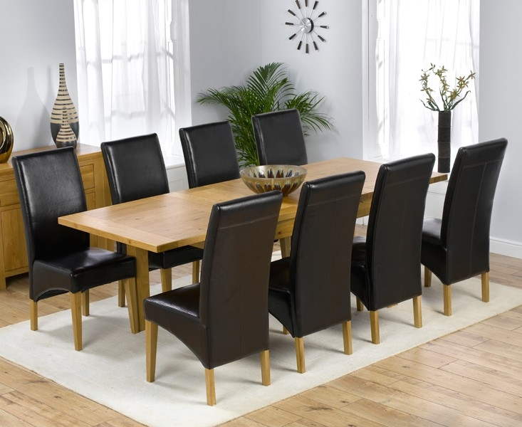 Mark Harris Rustique Solid Oak 150cm Extending Dining Set with 8 Roma Brown Dining Chairs