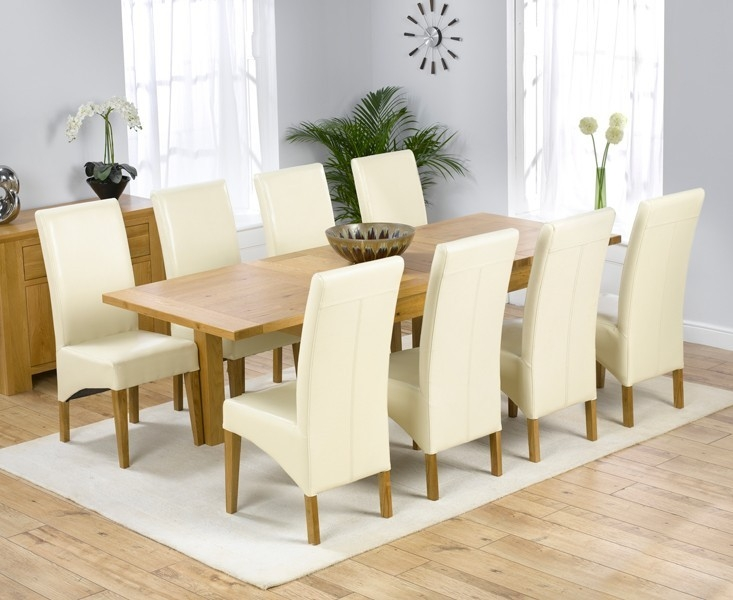 Mark Harris Rustique Solid Oak 150cm Extending Dining Table with 8 Roma Cream Chair