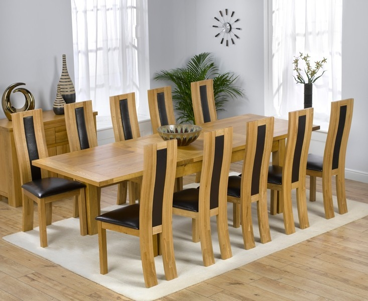 Mark Harris Rustique Solid Oak 180cm Extending Dining Set with 10 Havana Black Dining Chairs