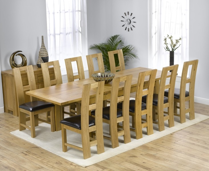 Mark Harris Rustique Solid Oak 180cm Extending Dining Set with 10 John Louis Black Dining Chairs