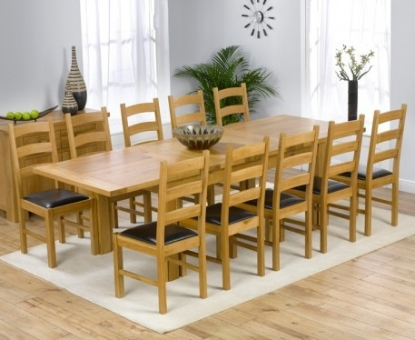 Mark Harris Rustique Solid Oak 180cm Extending Dining Set with 10 Valencia Brown Dining Chairs