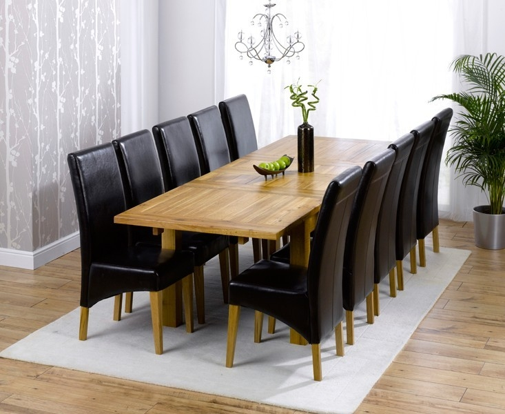 Mark Harris Rustique Solid Oak 180cm Extending Dining Set with 10 Venice Brown Dining Chairs