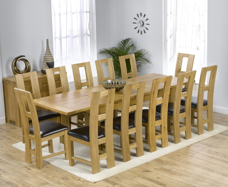 Mark Harris Rustique Solid Oak 180cm Extending Dining Set with 12 John Louis Black Dining Chairs