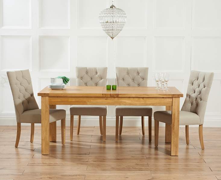 Mark Harris Rustique Solid Oak 180cm Extending Dining Table with 4 Albury Beige Chair