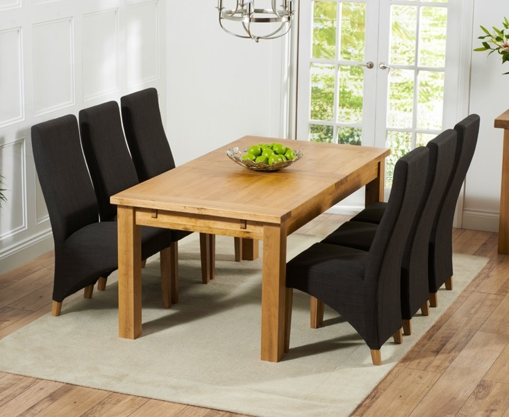Mark Harris Rustique Solid Oak 180cm Extending Dining Set with 6 Harley Charcoal Dining Chairs