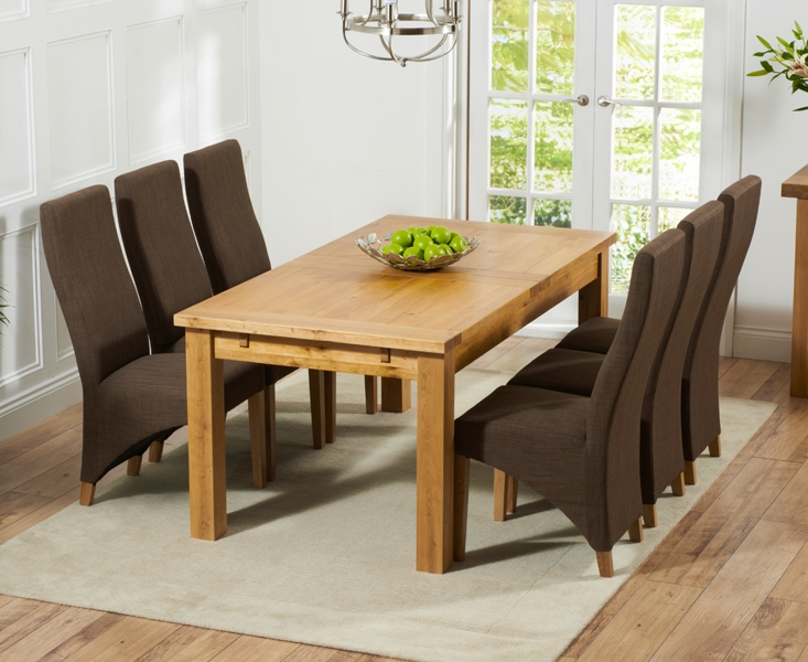Mark Harris Rustique Solid Oak 180cm Extending Dining Set with 6 Harley Cinnamon Brown Dining Chairs