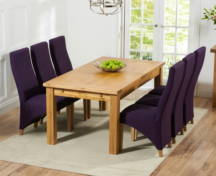 Mark Harris Rustique Solid Oak 180cm Extending Dining Table with 6 Harley Plum Chair