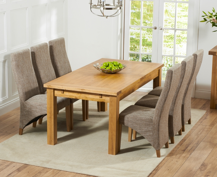 Mark Harris Rustique Solid Oak 180cm Extending Dining Table with 6 Harley Tweed Chair