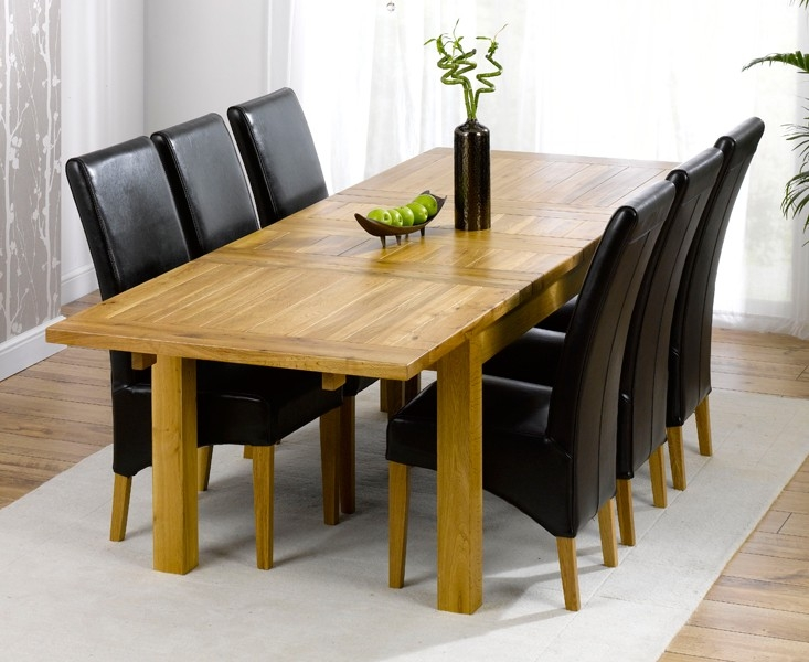 Mark Harris Rustique Solid Oak 180cm Extending Dining Set with 6 Roma Brown Dining Chairs