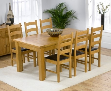 Mark Harris Rustique Solid Oak 180cm Extending Dining Table with 6 Valencia Brown Chair