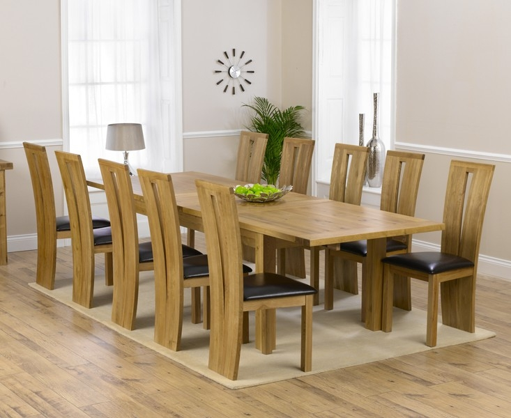 Mark Harris Rustique Solid Oak 220cm Extending Dining Set with 10 Arizona Brown Dining Chairs