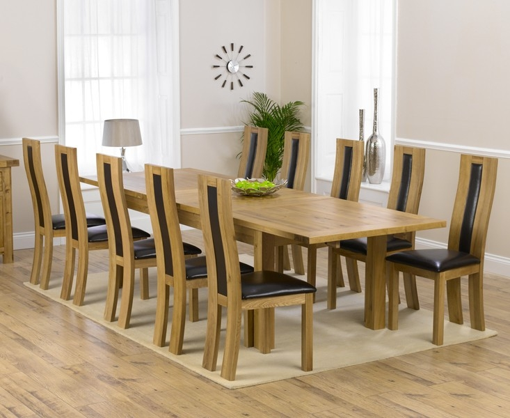 Mark Harris Rustique Solid Oak 220cm Extending Dining Table with 10 Havana Brown Chair