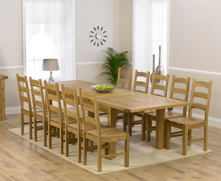 Mark Harris Rustique Solid Oak 220cm Extending Dining Table with 10 Valencia Timber Seat Chair