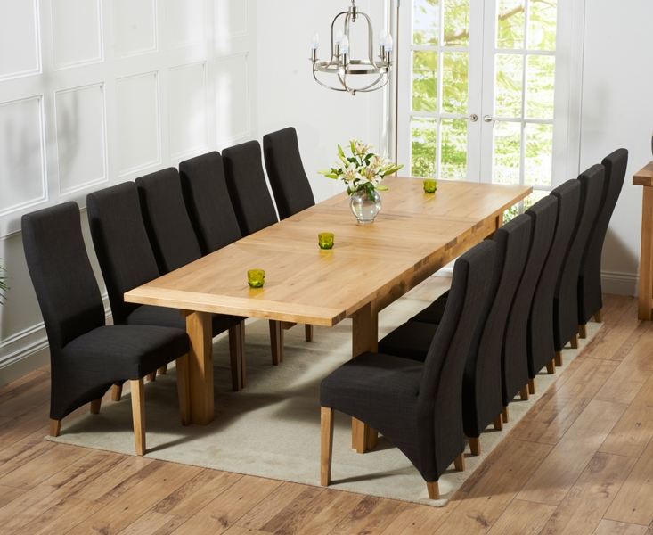 Mark Harris Rustique Solid Oak 220cm Extending Dining Table with 12 Harley Charcoal Chair