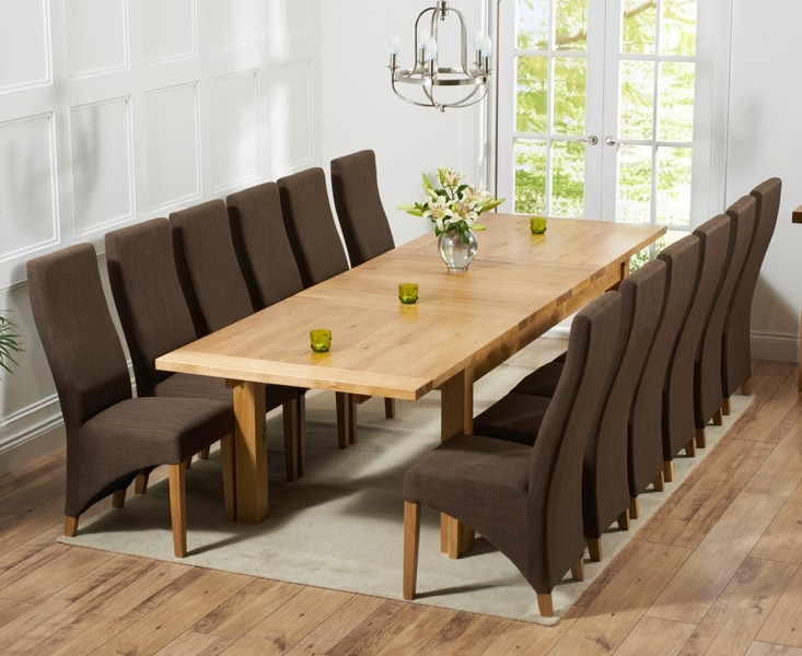 Mark Harris Rustique Solid Oak 220cm Extending Dining Set with 12 Harley Cinnamon Brown Dining Chairs