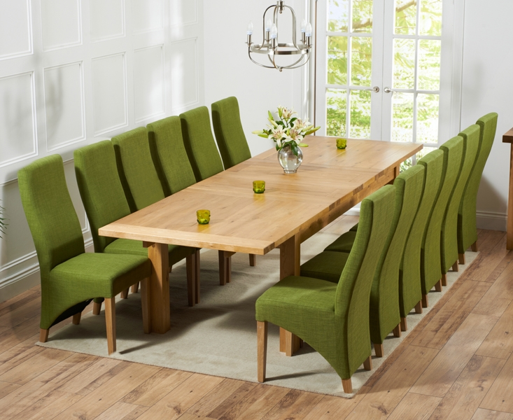 Mark Harris Rustique Solid Oak 220cm Extending Dining Table with 12 Harley Lime Chair