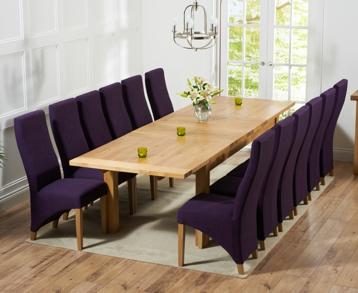 Mark Harris Rustique Solid Oak 220cm Extending Dining Table with 12 Harley Plum Chair
