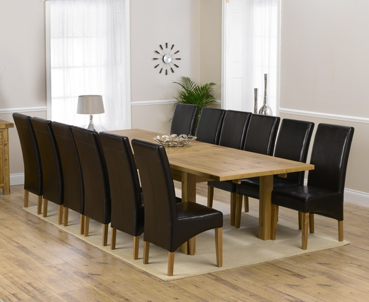 Mark Harris Rustique Solid Oak 220cm Extending Dining Set with 12 Roma Brown Dining Chairs