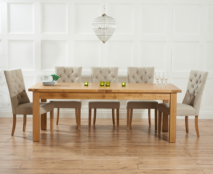 Mark Harris Rustique Solid Oak 220cm Extending Dining Set with 6 Albury Beige Dining Chairs