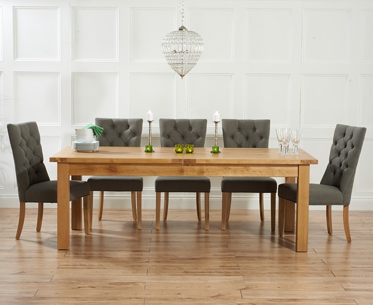 Mark Harris Rustique Solid Oak 220cm Extending Dining Table with 6 Albury Grey Chair