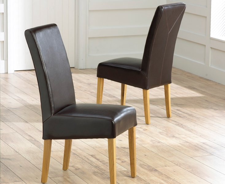 Mark Harris Rustique Solid Oak Brown Faux Leather Chair (Pair)
