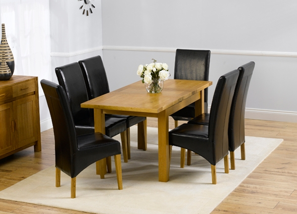 Buy Mark Harris Rustique Solid Oak Dining Set 120cm  : 3 Mark Harris Rustique Solid Oak Dining Set 120cm Extending with 4 Roma Black Chairs from choicefurnituresuperstore.co.uk size 600 x 433 jpeg 156kB