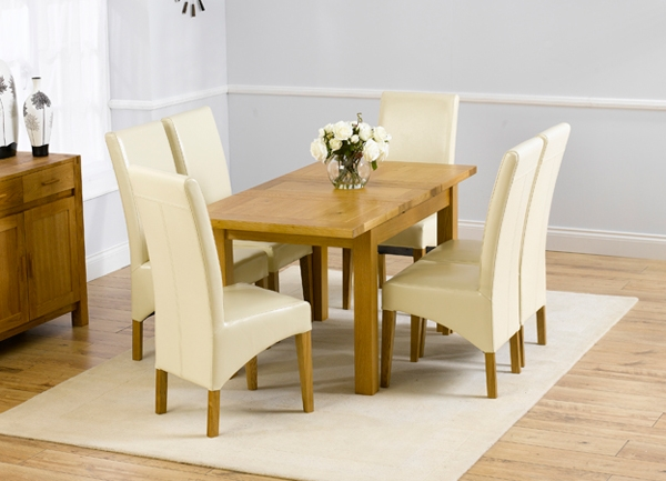 Mark Harris Rustique Solid Oak Dining Set - 120cm Rectangular Extending with 4 Roma Cream Chairs