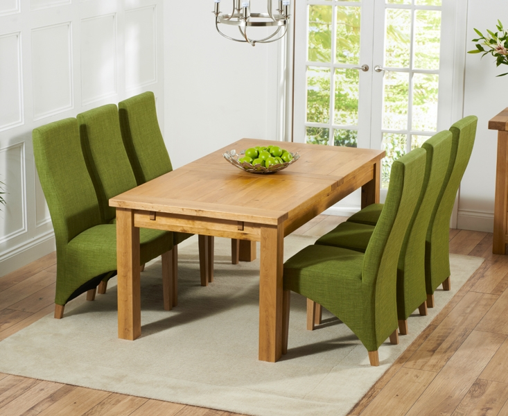 Mark Harris Rustique Solid Oak Dining Set - 180cm Extending with 4 Harley Lime Chairs