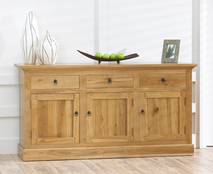 Mark Harris Rustique Solid Oak Sideboard - Large Wide 3 Door 3 Drawer
