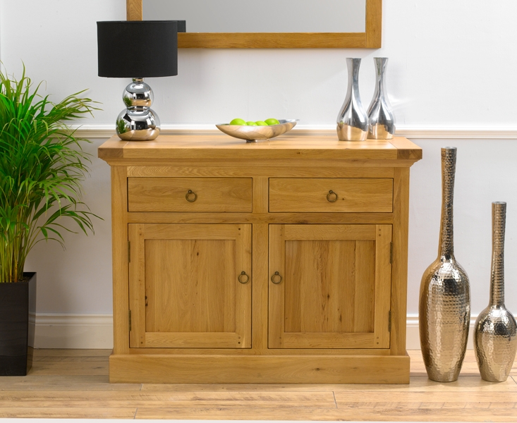 Mark Harris Rustique Solid Oak 2 Door 2 Drawer Narrow Sideboard